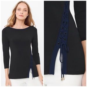 NWT WHBM Black Lace Up Sweater Top
